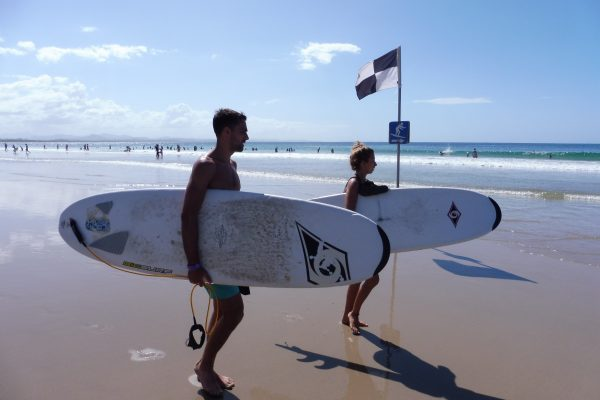 On the beach for surf lessons Byron Bay