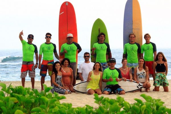 Surf class at the beach Mexico