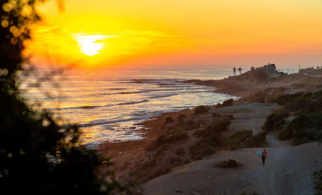 taghazout beach sunset