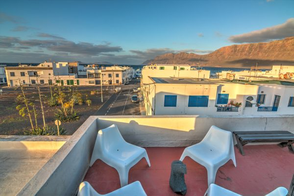 Roof top terrace with view to volcanoes